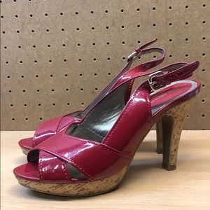 Audrey Brooke Red Peep Toe Heels sz 8